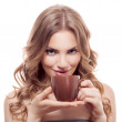 Woman with cup of coffee — Stock Photo #37705411