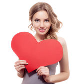 Woman with Valentines heart — Stock Photo