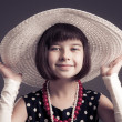 Pretty old-fashioned dressed little girl — Stock Photo