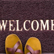 Welcome carpet with beach shales on it — Stock Photo