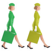 Charming Stewardess Dressed In Uniform And Suitcase With Color V — Stock Photo