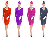 Charming Stewardess Dressed In Uniform With Color Variants. Isol — Stock Photo