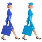 очаровательная стюардесса одеты в форму и чемодан с цвет v — Стоковое фото