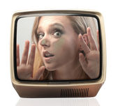 Trapped in the TV — Stock Photo