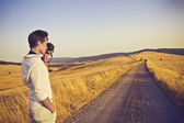 Photographing a Countryside Road — Stock Photo