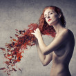 From Red Hair to Leaves — Stock Photo