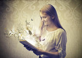Reading a Fairy Tale Coming to Life — Stock Photo