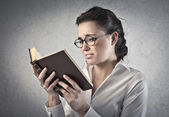 Reading an Involving Book — Stock Photo