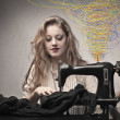 Sewing a Black Dress - Stok fotoğraf