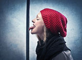 Nervous Frozen Tongue — Stock Photo