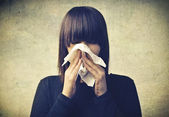 Girl Blowing her Nose — Stock Photo