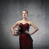 Woman Holding her Head — Foto de Stock