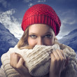 Blonde Girl in Mountain Covering with her Scarf — Stock Photo