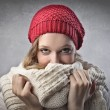 Blonde Girl Covering with her Scarf — Stock Photo