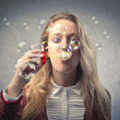 Beautiful Blonde Girl Making Soap Bubbles — Stock Photo