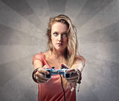 Blonde Girl Playing Video Games — Stock Photo