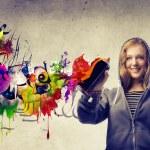Blonde Girl Making a Graffiti — Stock Photo