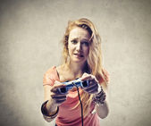 Girl Involved in a Video Game — Stock Photo