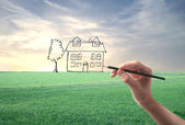Drawing an House — Stock Photo