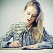 Blonde Beauty Writing — Stock Photo