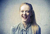 Blonde Beauty Laughing — Stock Photo