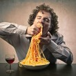 Gorging of Pasta — Stock Photo