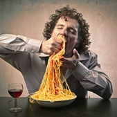 Gorging of Pasta — Foto Stock