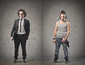 Affärsman vs arbetslösa — Stockfoto