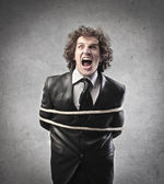 Screaming Tied Businessman — Stock Photo