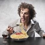 Eating Spaghetti — Stock Photo