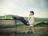 Young Businessman on Hills — Stock Photo