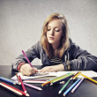 Coloring Blonde Girl — Stock Photo #14857193