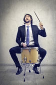 Man playing the drum — Stock Photo