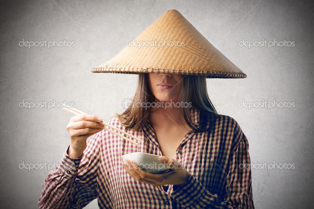 Ragazza con cappello cinese foto stock olly18 23310822 for Mangiare cinese
