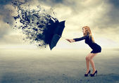 Woman and an umbrella — Stockfoto