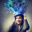 Woman wearing a blue hat — Stock Photo