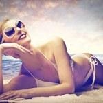 Beautiful woman sunbathing — Stock Photo