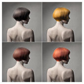 Woman's bob in different colors — Stock Photo