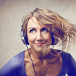 Woman listening to the music — Stock Photo