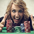 Woman playing poker — Stock Photo