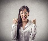 Happy cheering woman — Stock Photo