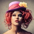 Stock Photo: Serious girl clown