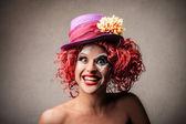 Amazed smiling clown — Stock Photo