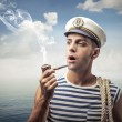 Attractive handsome sailor — Stock Photo