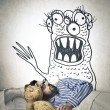 Stock Photo: Mhaving nightmares