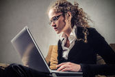 Business woman working hard — Stock Photo
