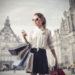 Busy fashion woman doing shopping  — Stock Photo
