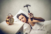 Angry woman wants to sleep — Stock Photo