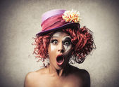 Surprised amazed clown — Stock Photo