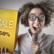 Woman promoting the sale — Stock Photo #39301293